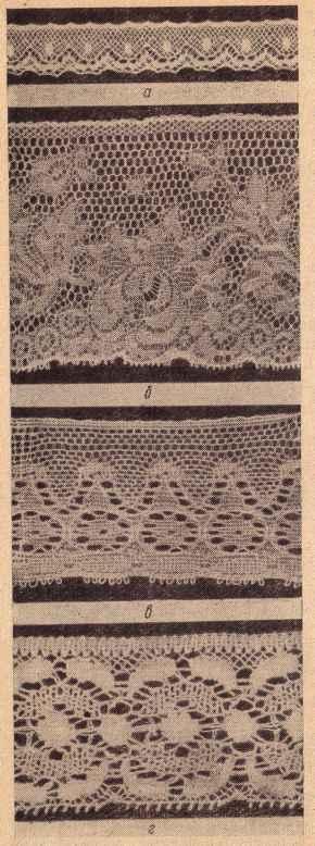 Рис. VI-6. Кружева машинные: а — узкие (валансьен); б — широкие (малин); в — рельефные (брабант); г — грунтовые (торшон)