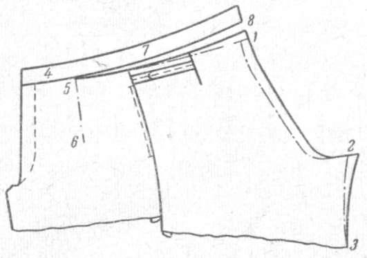 Рис. 44. Верхняя левая часть брюк